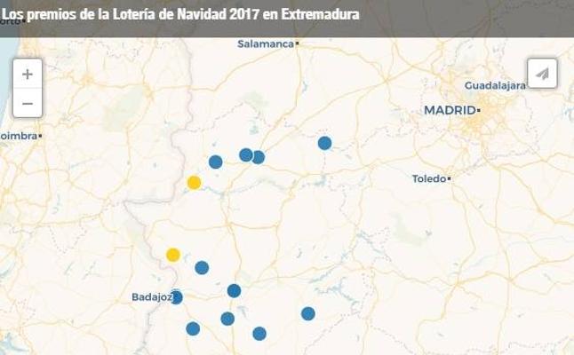 Lotería de Navidad 2017: el mapa de los premios en Extremadura