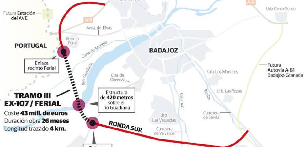 La Junta aprueba destinar 47 millones al primer tramo de la ronda sur de Badajoz
