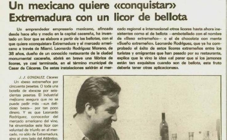 30 años el Beso Extremeño, el licor de bellotas