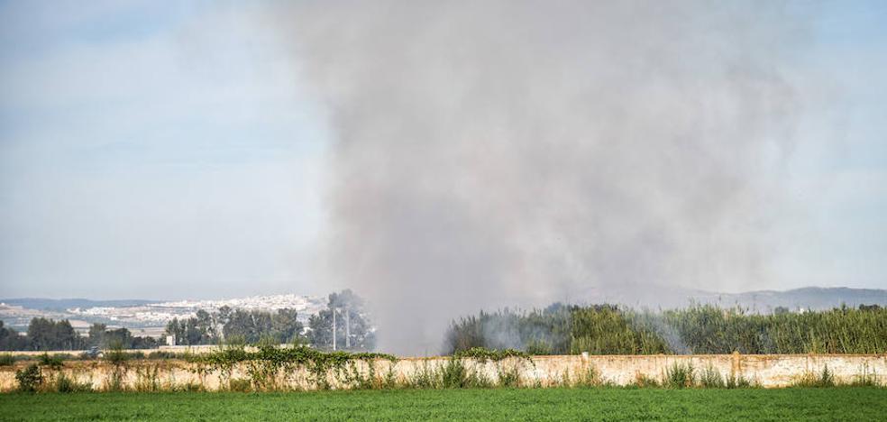 Una quema de rastrojos inunda de humo Badajoz