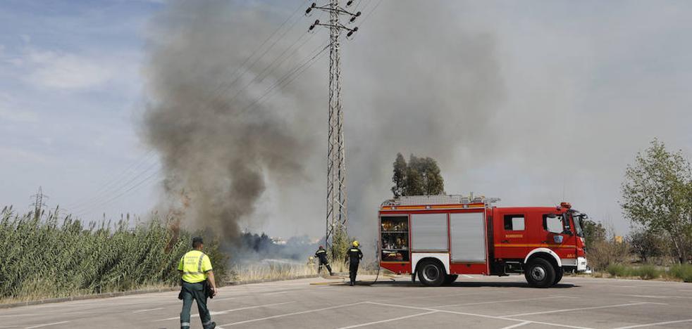 Incendio en las traseras de Empresariales de Cáceres