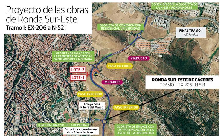 Trazado de la Ronda Sur-Este de Cáceres