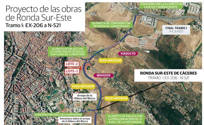 La ocupación de suelo urbano triplica la partida de expropiaciones de la Ronda Sureste de Cáceres