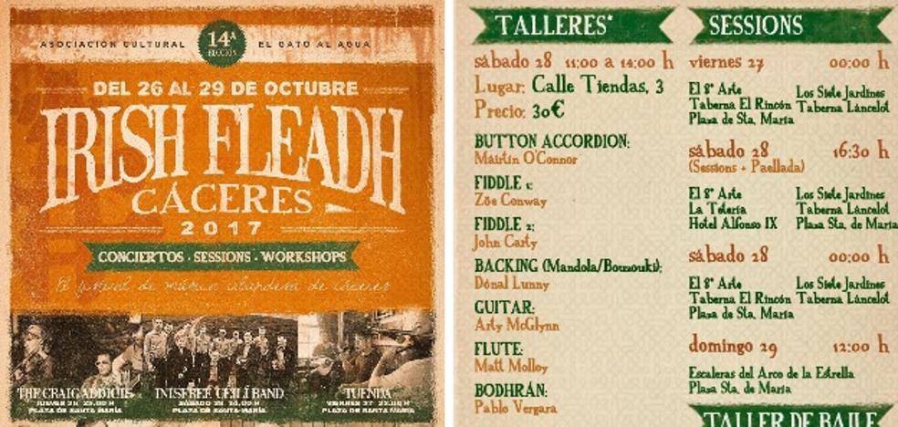 Programa del Irish Fleadh, banda sonora del otoño cacereño