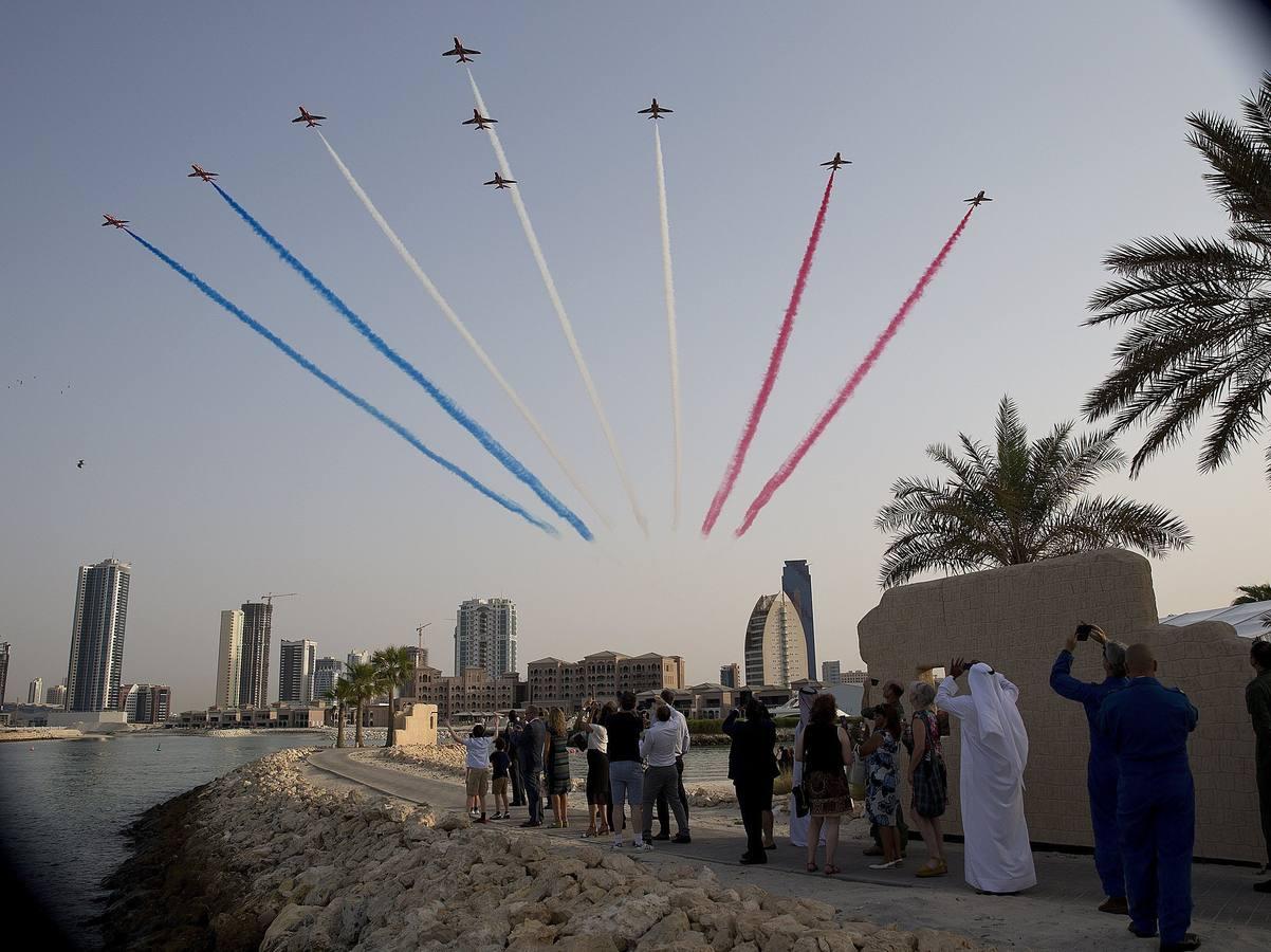Exhibición de la escuadrilla británica Red Arrows