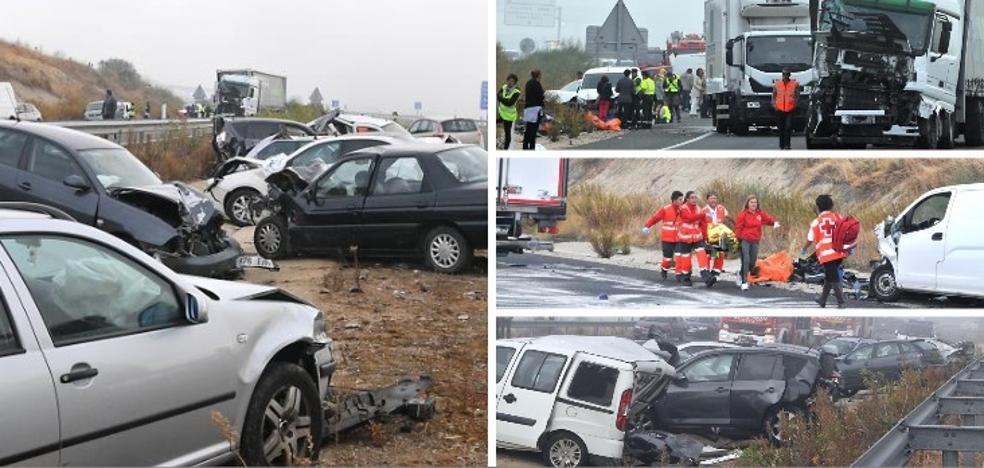 La densa niebla, la causa más probable del accidente múltiple de Galisteo