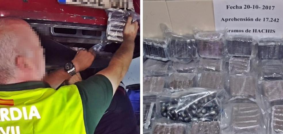 Detenido en la Autovía de la Plata con 17 kilos de hachís ocultos en el coche