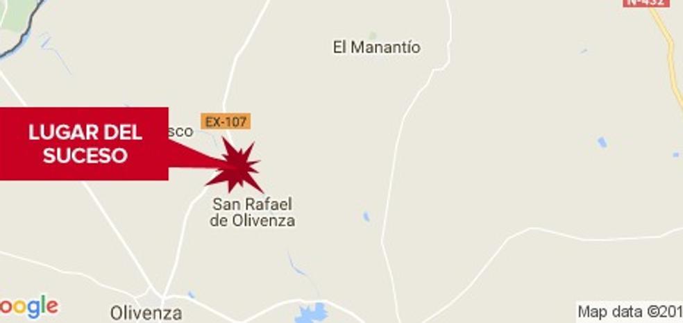 Seis heridos, entre ellos dos niñas, al chocar dos vehículos en la carretera de Olivenza