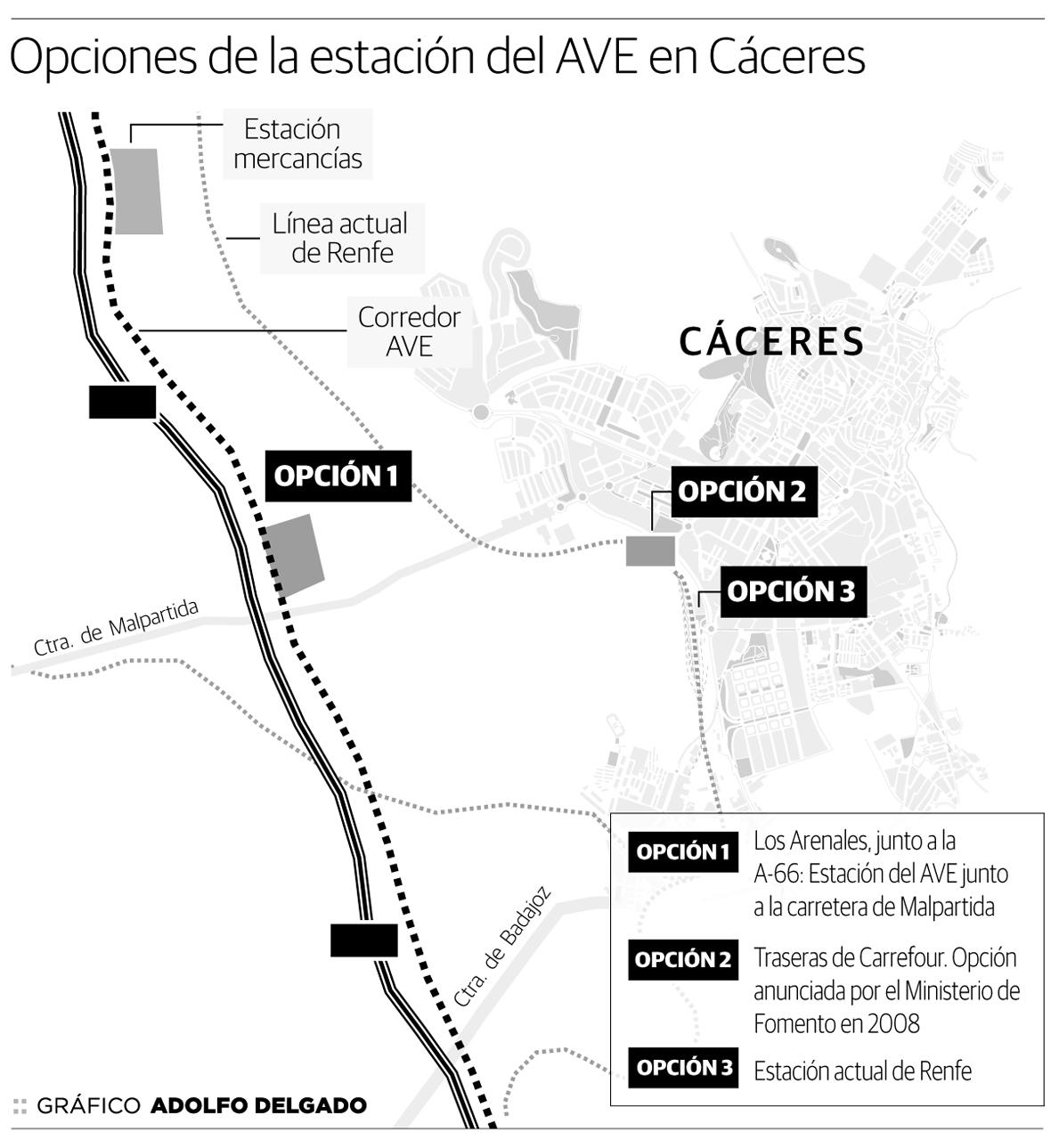 Opciones de la estación del AVE en Cáceres