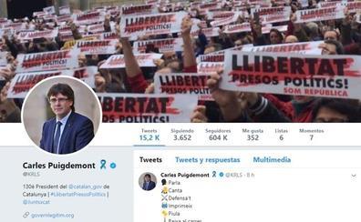 El perfil de Carles Puigdemont, el que más menciones de Twitter recibe en España en 2017