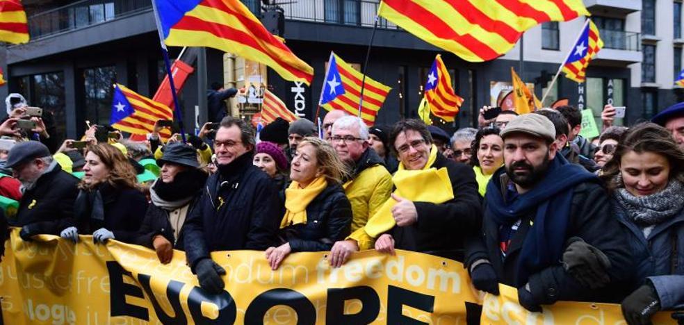 45.000 catalanes claman en favor de la independencia en el corazón de la UE