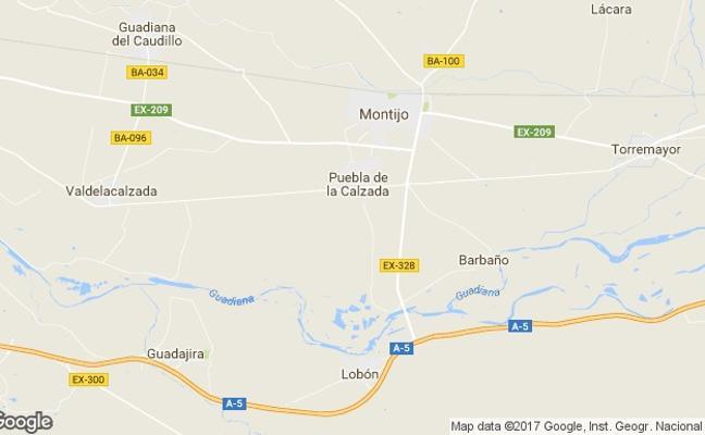 Un motorista resulta herido de gravedad en un accidente cerca de Montijo