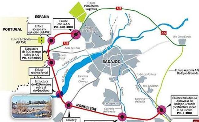 9,7 millones para la Ronda Sur de Badajoz y 6,5 millones para la Sureste de Cáceres