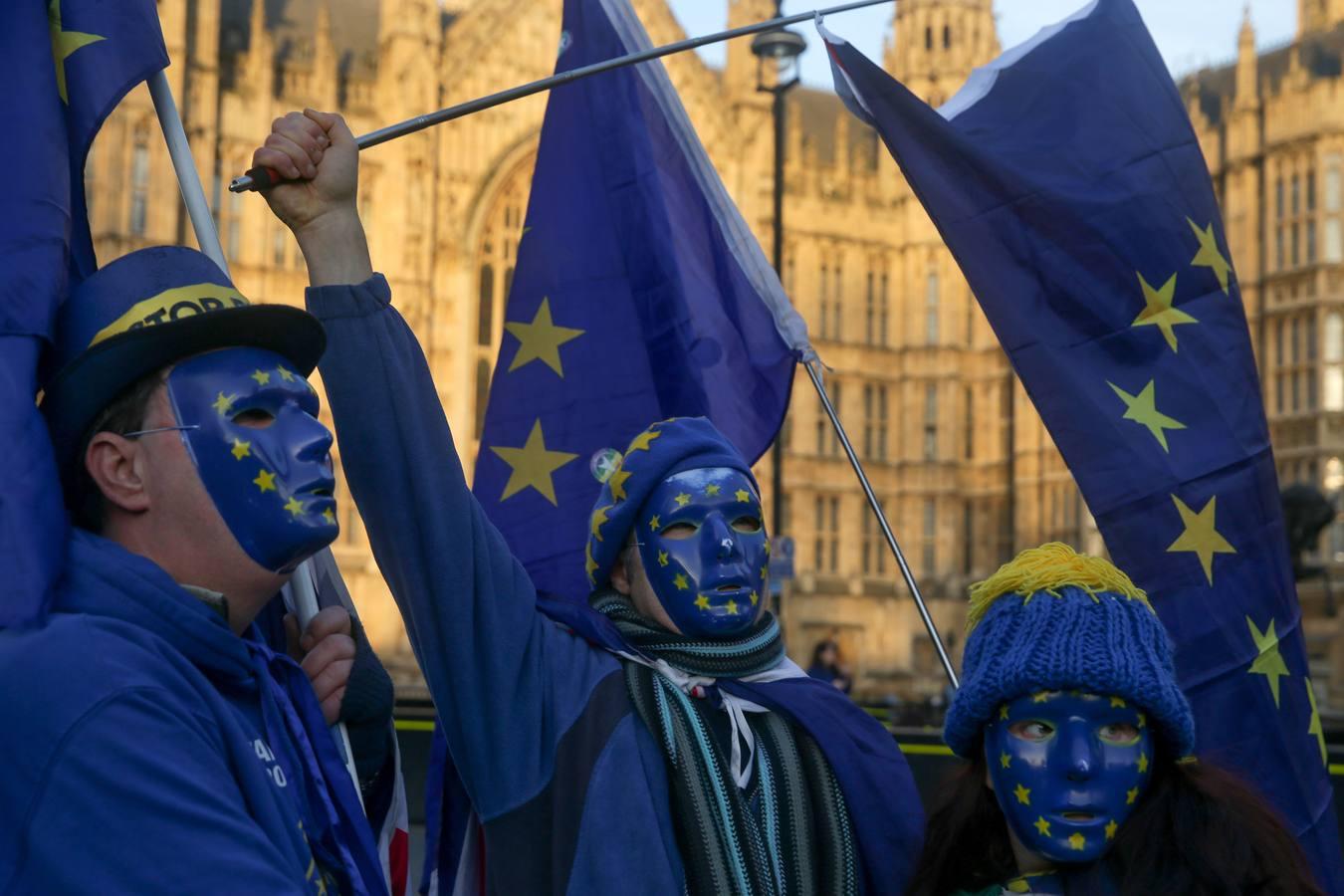 Manifestantes pro-Unión Europea en Londres