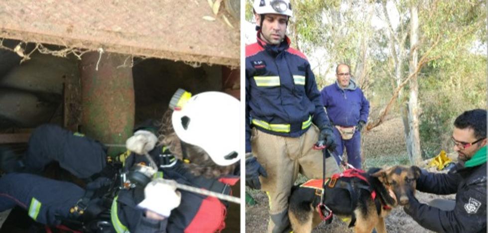 Los bomberos rescatan a un perro que cayó a un pozo en Villafranco