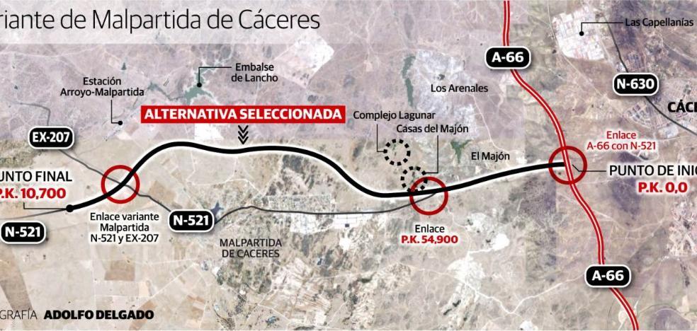 Fomento estudia acercar la variante de Malpartida de Cáceres al casco urbano