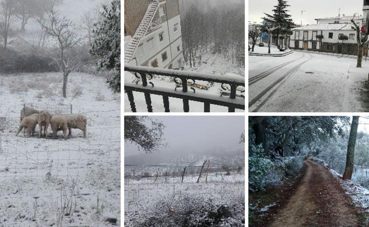 Estampas invernales en Extremadura por la nieve