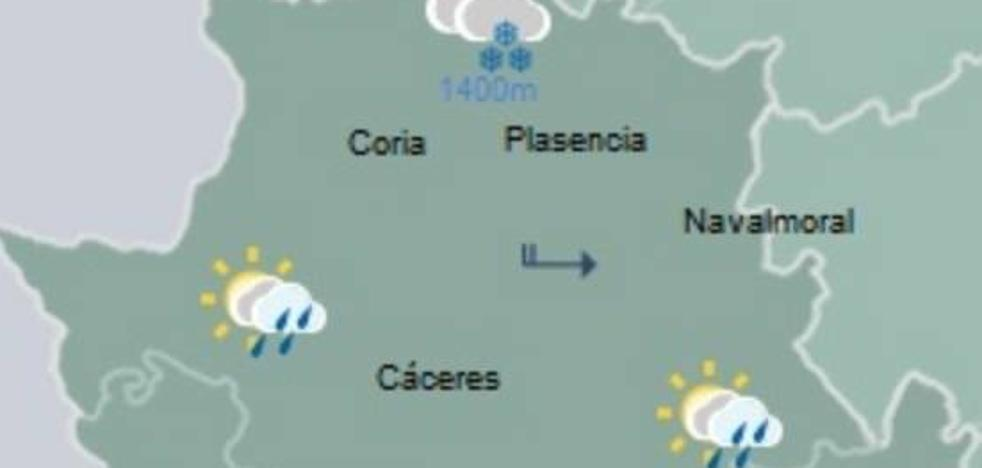 La nieve da paso a la lluvia en Extremadura