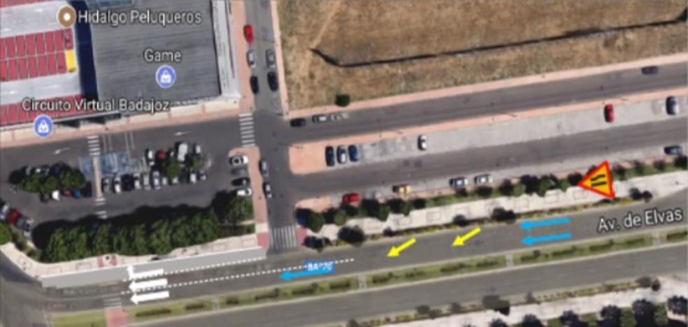 Corte en la avenida de Elvas por la obra para crear un tercer carril de giro
