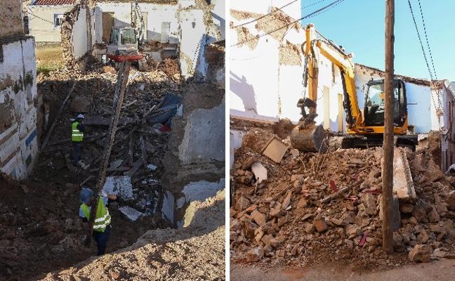Derriban dos casas en ruinas en el Casco Antiguo de Badajoz tras las denuncias de los vecinos