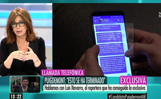 Ana Rosa reina en la mañana de Telecinco gracias a la exclusiva de Puigdemont