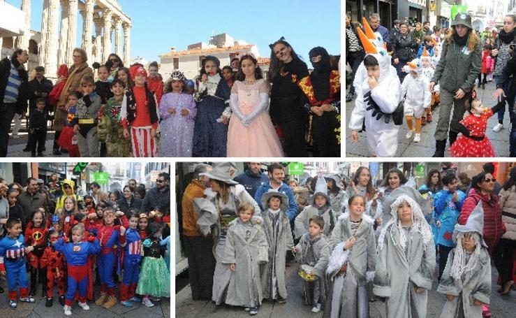 Los niños desfilan por las calles de Mérida con sus disfraces