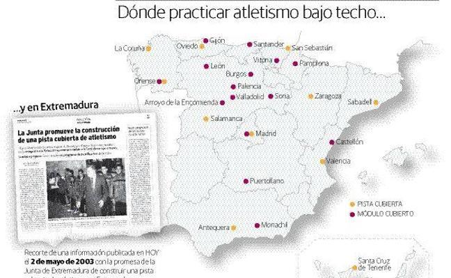 La pista cubierta de atletismo para Extremadura, una promesa de 15 años