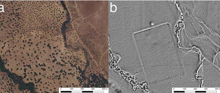 A la izquierda, vista aérea de la zona de dehesa donde se ha localizado lo que los dos investigadores han calificado como un campamento militar romano; a la derecha, imagen donde se aprecia el campamento romano con el foso que lo definía y parte de los muros que se conservan.
