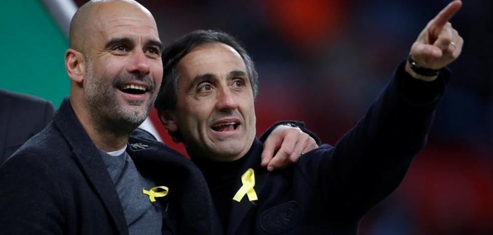 Los lazos amarillos de Guardiola se citan en la final de la Copa de la Liga