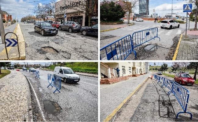 Los baches obligan a cortar carriles en varias avenidas de Badajoz para evitar accidentes