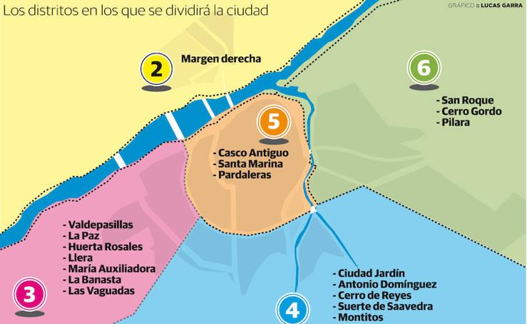 Los distritos en los que se dividirá la ciudad de Badajoz
