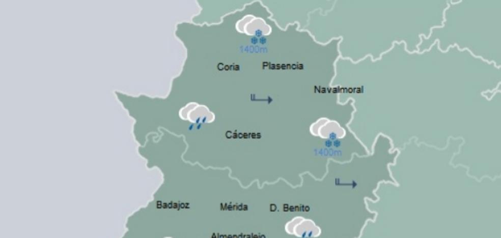La Aemet activa el aviso amarillo por nevadas en el norte de Extremadura para el sábado