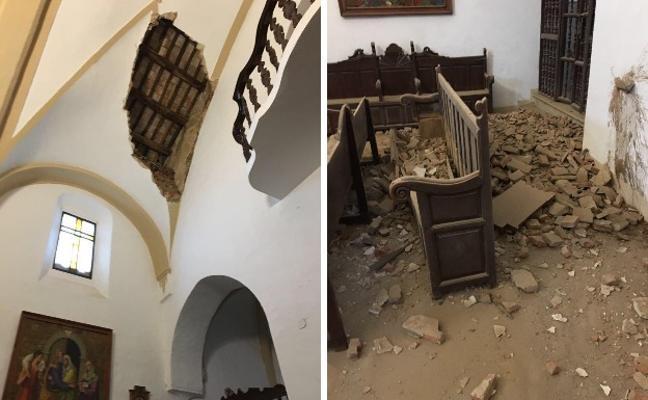 Se derrumba parte de la bóveda de la iglesia de Granja de Torrehermosa sin causar heridos