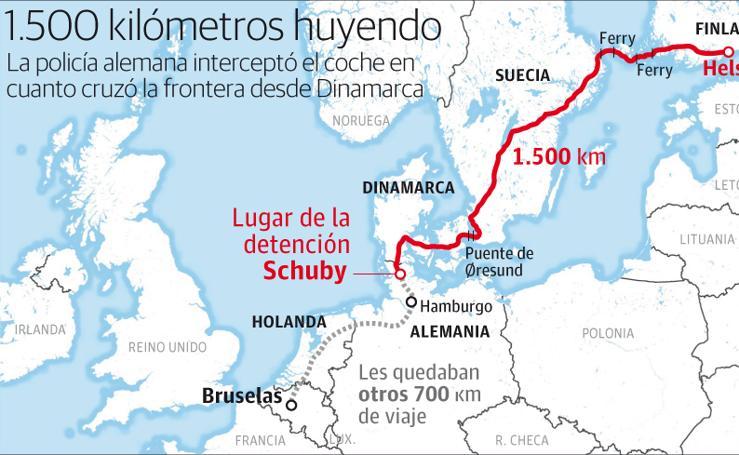 Itinerario de viaje previsto por Puigdemont