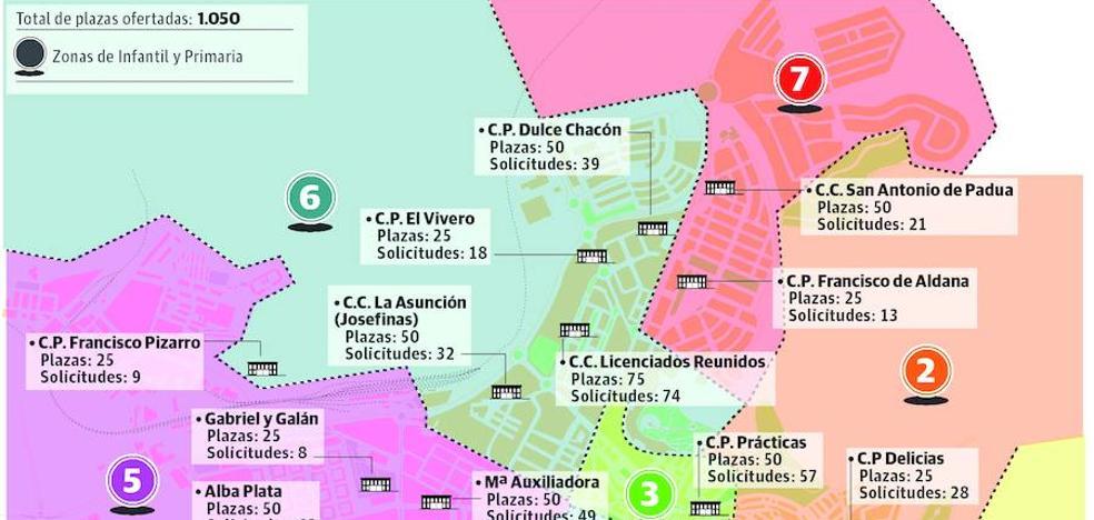 La demanda de plazas en colegios de Cáceres sube en el centro y baja en Mejostilla