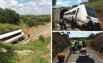 Descarrila un tren en Medina de las Torres al encontrar escombros en la vías