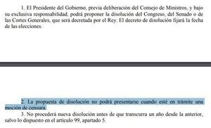 La Constitución impide a Rajoy convocar elecciones ahora