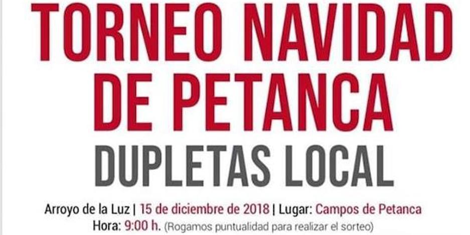 Mañana sábado se celebrará el Torneo Navidad de Petanca en Arroyo de la Luz