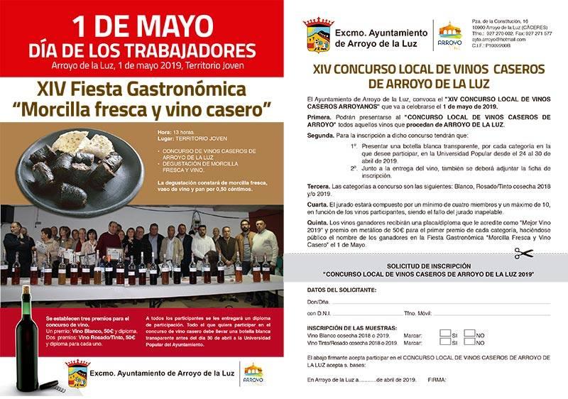Abierto el plazo para participar en el concurso de Vinos de la Tierra, enmarcado en la Fiesta Gastronómica 'Morcilla Fresca y Vino Casero'