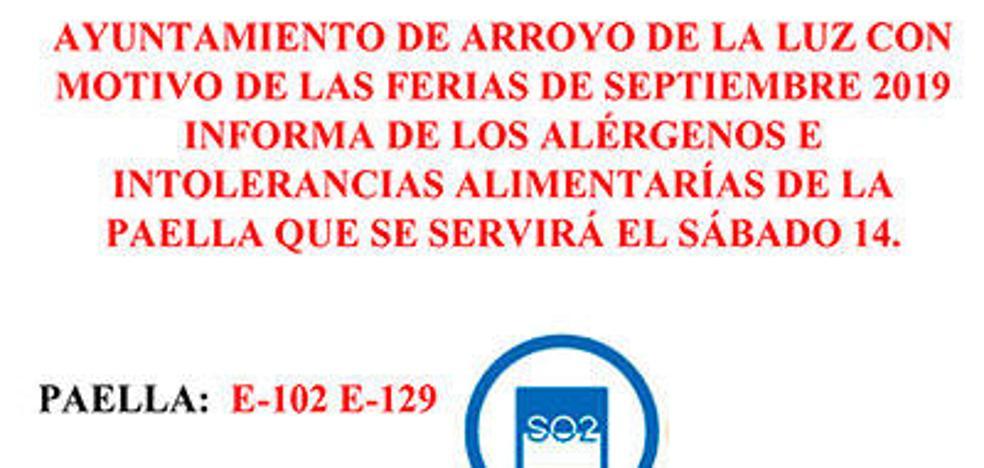 El Ayuntamiento arroyano informa a sus convecinos sobre los alérgenos de la comida para el Día de las Peñas