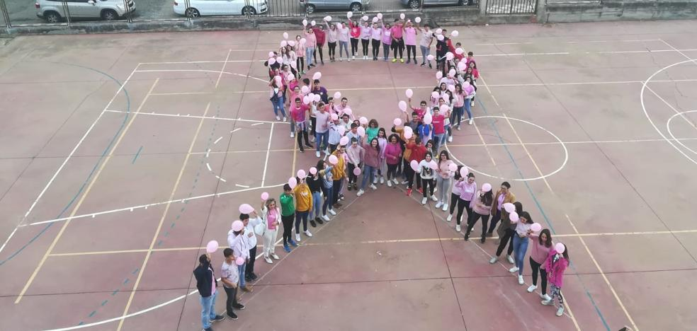 Los alumnos del instituto muestran su cara más solidaria en la lucha contra el cáncer de mama