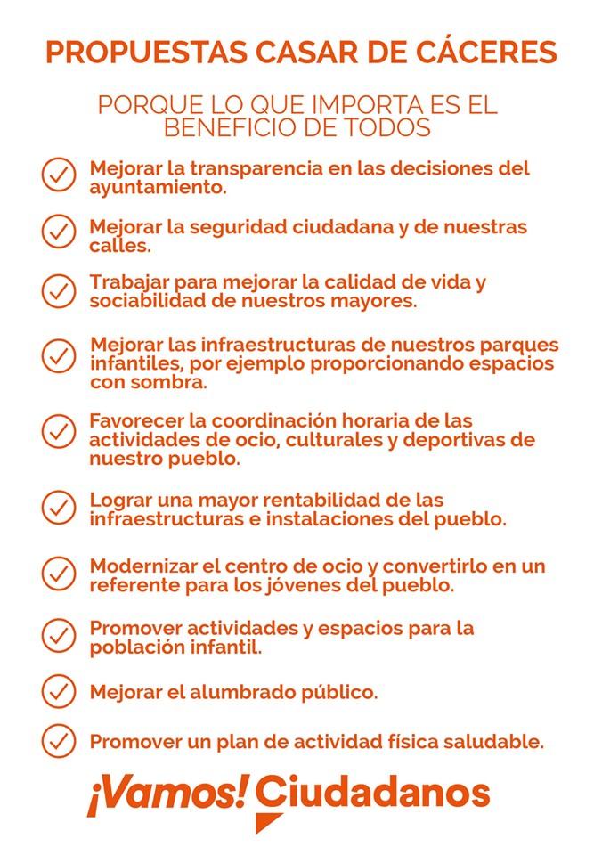 Ciudadanos lanza 10 propuestas que dará a conocer a pie de calle