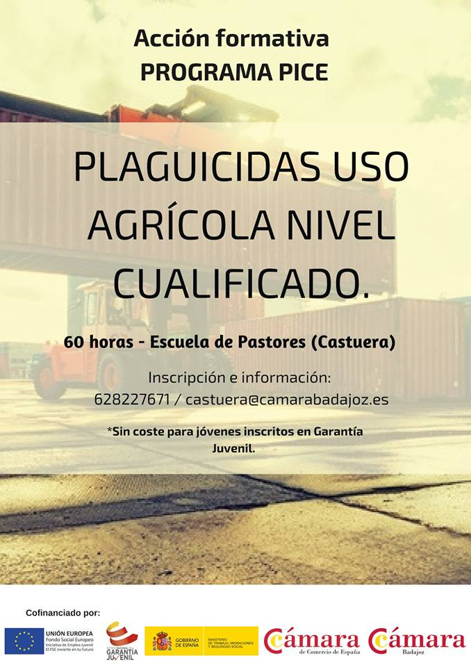 La Cámara de Comercio de Badajoz oferta un curso de 'Plaguicidas de uso agrícola, nivel cualificado'