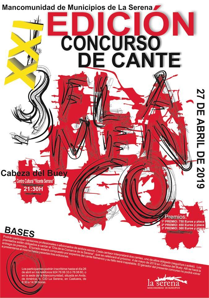 El XXI Concurso de Cante Flamenco 'mancomunidad de La Serena' se celebrará en Cabeza del Buey el 27 de abril
