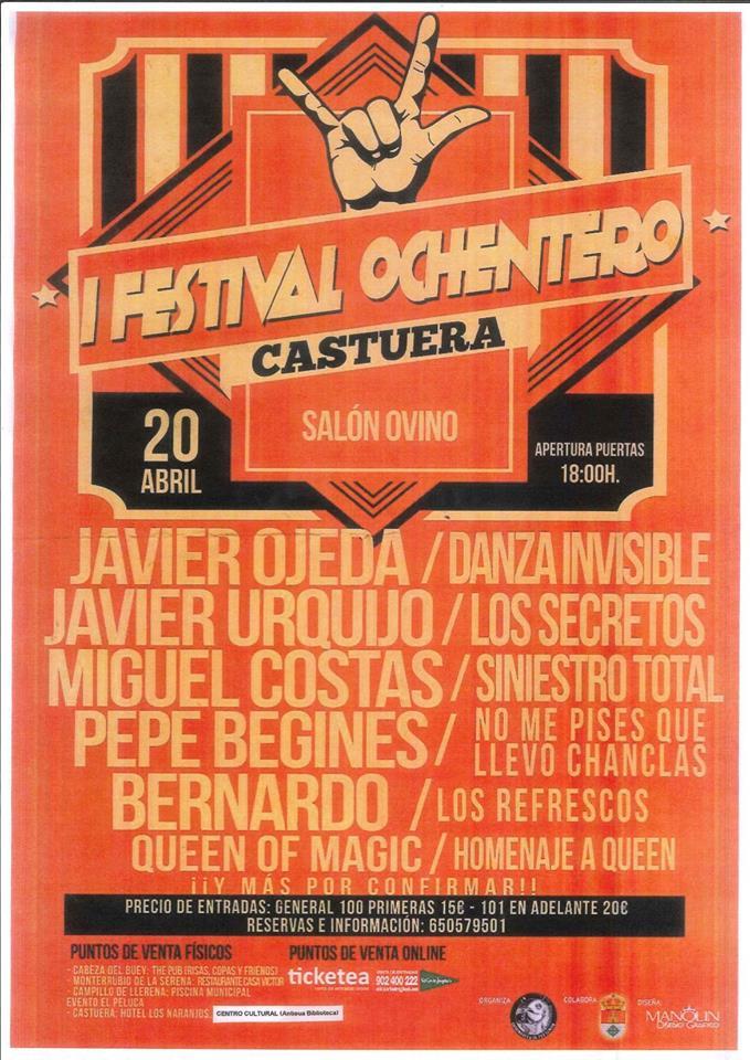 Castuera celebrará su primer festival ochentero el sábado 20 de abril