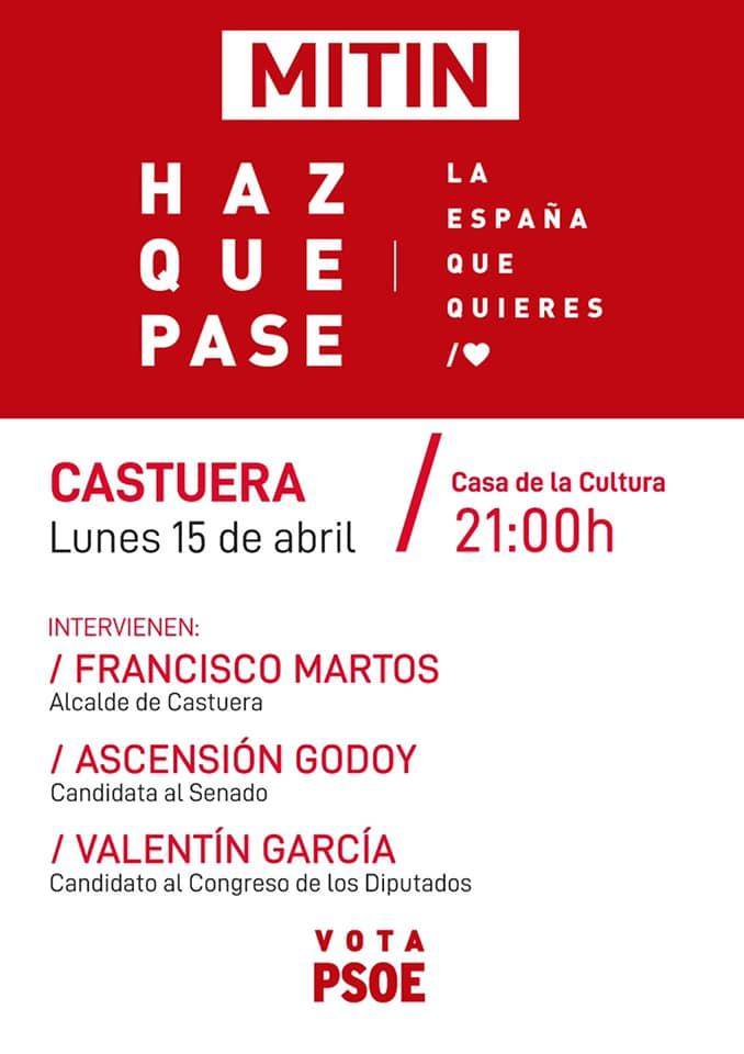 El PSOE de Castuera celebra esta noche el mitin central de la campaña electoral del 28 A