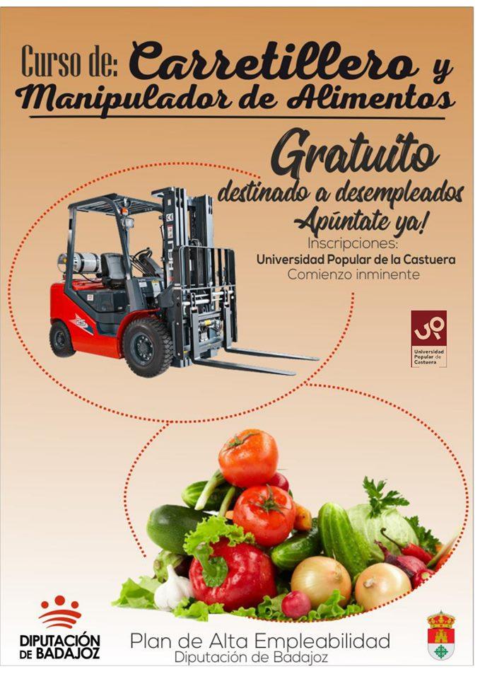 La Universidad Popular oferta un curso gratuito de Carretillero y Manipulación de Alimentos