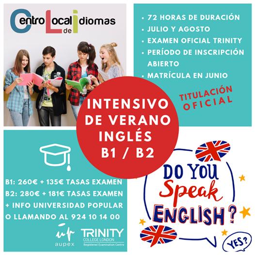 El Centro Local de Idiomas oferta cursos intensivos de inglés B1y B2