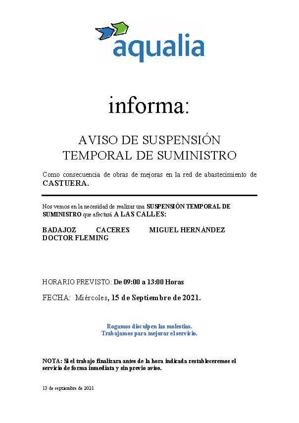 Aqualia anuncia un corte temporal de suministro de agua en Castuera
