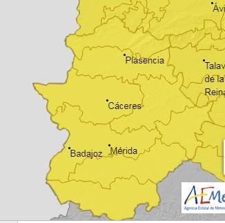 AEMET activa la alerta amarilla por lluvias y tormentas en la comarca de La Serena